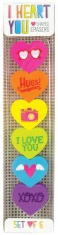 I Heart You Erasers - Set of 6