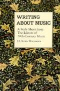 Writing About Music A Style Sheet From