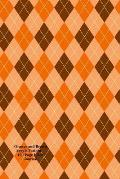 Orange and Brown Argyle Pattern 100 Page Lined Journal: Blank 100 Page Lined Journal for Your Thoughts, Ideas, and Inspiration
