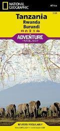 National Geographic Adventure Map    Tanzania, Rwanda,and Burundi