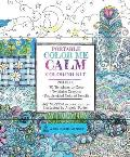 Portable Color Me Calm Coloring Kit Includes Book Colored Pencils & Twistable Crayons