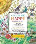 Portable Color Me Happy Coloring Kit Includes Book Colored Pencils & Twistable Crayons