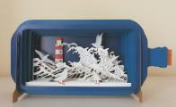 Message in a Bottle 3D Pop Up Greeting Card Birds and Lighthouse