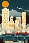 Portland Oregon Retro Skyline Postcard
