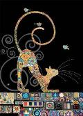 Cat with Birds Blank Greeting Card