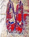 Manica Red Pumps Clinton in Blue Dress creative Journal coloring book