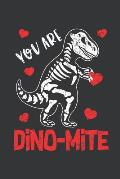 Notebook: You Are Dinomite Dinosaur Heart Valentine's Day Boy Journal & Doodle Diary; 120 Dot Grid Pages for Writing and Drawing