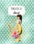 Sketch Book: Mermaid Sketchbook Scetchpad for Drawing or Doodling Notebook Pad for Creative Artists #2 Green