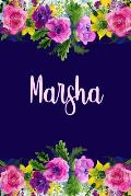 Marsha: Personalized Name Pink Floral Design Matte Soft Cover Notebook Journal to Write In. 120 Blank Lined Pages
