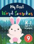 My First Word Searches: 50 Large Print Word Search Puzzles to Keep Your Child Entertained for Hours - K-1 - Ages 5-7 Rabbit Design (Vol.9)