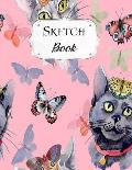 Sketch Book: Cat Sketchbook Scetchpad for Drawing or Doodling Notebook Pad for Creative Artists #7 Pink Butterfly