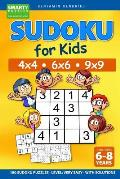 Sudoku for Kids 4x4 - 6x6 - 9x9 180 Sudoku Puzzles - Level: very easy - with solutions