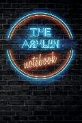 The ASHLYN Notebook: Vintage Blank Ruled Personalized & Custom Neon Sign Name Dotted Notebook Journal for Girls & Women. Wall Background. F