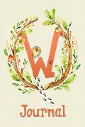 Cute Woodland Critter Journal with Initial: Cute Woodland Hedgehog Journal with Orange Initial 'W'