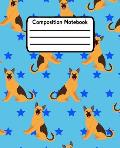 Composition Notebook: German Shepherd Wide Ruled Lined Journal For Kids