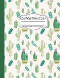Composition Notebook: Pretty Cactus in Pots Wide Ruled Paper Notebook Journal for Homeschool Office Teacher Adult 7.5 x 9.25 in. 100 Pages