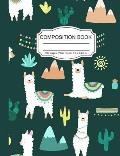 Composition Book: Cute Wide Ruled Paper Lined Notebook Green Journal Supercute White Llamas for Teens Kids Students Back to School 7.5 x
