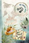 My Travel Diary: Vintage Journal for Girls Women - Guided Log Book To Write Fill In 6x9 - 52 Traveling Quotes, Daily Agenda Time Table
