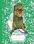 Composition Book: Green T-Rex Dinosaur Marble Pattern School Notebook - 100 Wide Ruled Blank Lined Writing Exercise Journal For Boys and