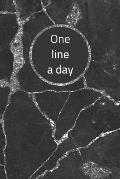 One Line A Day: Black And Silver Marble One Line A Day Journal Five-Year Memory Book, Diary, Notebook, 6x9, 110 Lined Blank Pages