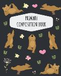 Yoga Bear Primary Composition Book: Pretty Forest Bear Primary Composition Notebook K-2 With Picture Space: Draw Top Lines Bottom Kindergarten to Earl