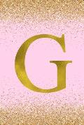 G: Letter G Initial Monogram Notebook - Pretty Pink & Gold Confetti Glitter Monogrammed Blank Lined Note Book, Writing Pa