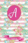 A Journal: Tropical Journal, personalized monogram initial A blank lined notebook - Decorated interior pages with tropical flower