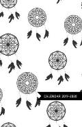 Calendar 2019 - 2020: Dream Catchers Cover in Black & White / Academic Planner, Student Diary, Agenda for 2019 until 2020 (only months to pa