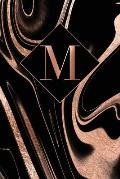 M: Letter M Journal, Rose Gold Swirls on Black, Personalized Notebook Monogram Initial, 6 X 9