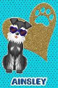 Schnauzer Life Ainsley: College Ruled Composition Book Diary Lined Journal Blue