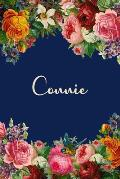 Connie: Personalized Name Floral Design Matte Soft Cover Notebook Journal to Write In. 120 Blank Lined Pages