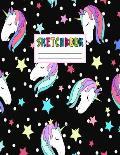 Sketcbook: Cute Unicorn Kawaii Sketch Book for Girls, Kids, Teens, Women (Perfect for Sketching, Drawing, Doodling, Journal, Note