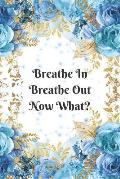 Breathe In Breathe Out Now What? Anxiety Goal Setting 12 Month Planner Journal Notebook: Weekly Workbook For Drawing and Writing - Blue and Gold with