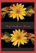 Floral Sunflower Journal: A flexible paperback book with glossy finish. Interior pages are wide ruled and embellished with smaller sunflowers. T