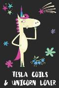 Tesla Coils & Unicorn Lover: Blank Lined Notebook Journal Gift Idea