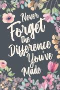 Never Forget The Difference You've Made: Retirement & Appreciation Gifts for Women and Professionals Who Have Made a Big Impact on People's Lives. Not