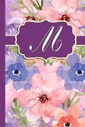 M: Monogram Initial M Notebook Watercolor Floral