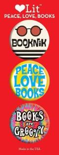 Peace, Love, Books 3-Button Assortment