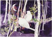 Doves in White Birches Deluxe Boxed Holiday Cards