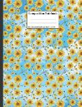 Composition Notebook: Sunflowers Falling From Blue Sky Clouds Beautiful Floral Flower Design Cover 100 College Ruled Lined Pages Size (7.44