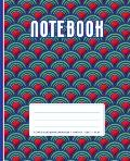 Composition Notebook: 100 Wide Ruled Blank Lined Pages / 50 Leaves / Size: 7.5 X 9.25 Modern Japanese Inspired Wave Pattern Blue Red & Gre