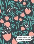 2020 Weekly & Monthly Planner: Black Peach Teal Floral Calendar & Journal