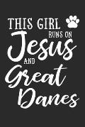 This Girl Runs On Jesus And Great Danes: 6x9 Ruled Notebook, Journal, Daily Diary, Organizer, Planner