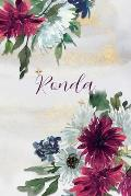Ronda: Personalized Journal Gift Idea for Women (Burgundy and White Mums)