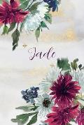 Jade: Personalized Journal Gift Idea for Women (Burgundy and White Mums)