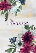 Arianna: Personalized Journal Gift Idea for Women (Burgundy and White Mums)