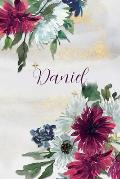 Daniel: Personalized Journal Gift Idea for Women (Burgundy and White Mums)