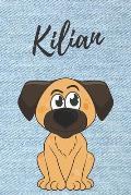 Kilian Notizbuch Hunde / Malbuch / Tagebuch: Individuelles personalisiertes blanko Jungen & M?nner Namen Notizbuch, blanko DIN A5 Seiten. Ideal als Un