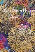 One Line A Day Journal: Mandala Inspire One Line A Day Journal To Write In, Five-Year Memory Book, Diary, Notebook, Lined Blank Pages