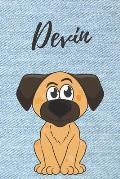 Devin Hund-Malbuch / Notizbuch Tagebuch: Individuelles personalisiertes blanko Jungen & M?nner Namen Notizbuch, blanko DIN A5 Seiten. Ideal als Uni ..
